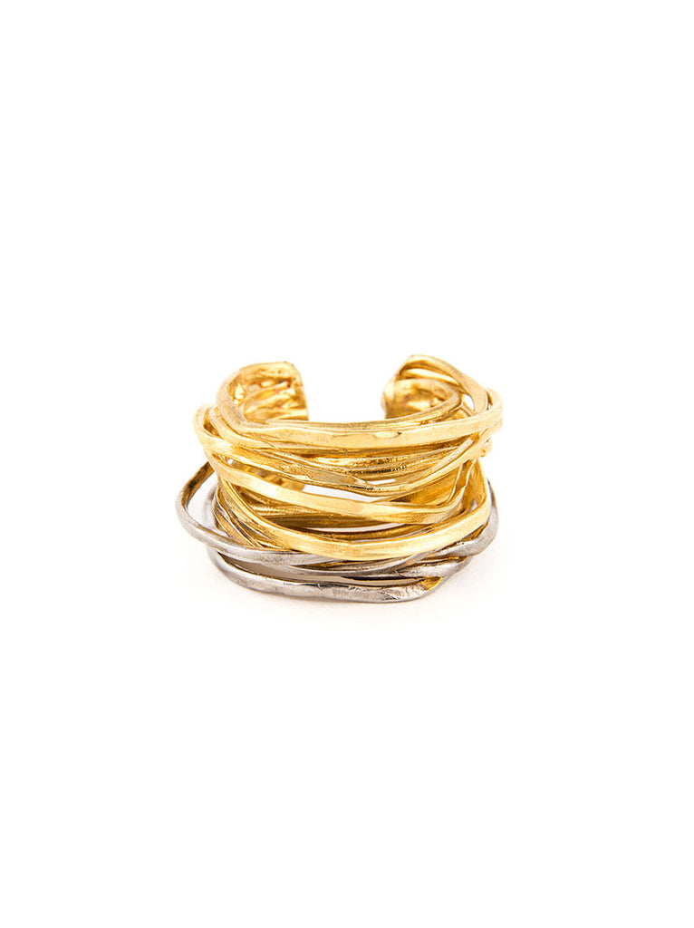 Statement Ring, Gold and Silver Metal