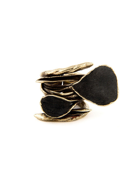 Statement Ring, Silver Metal with Black Design