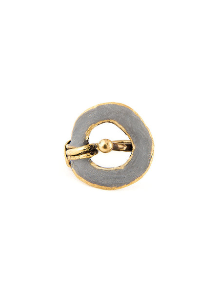Statement Ring, Gold Metal with Silver Design