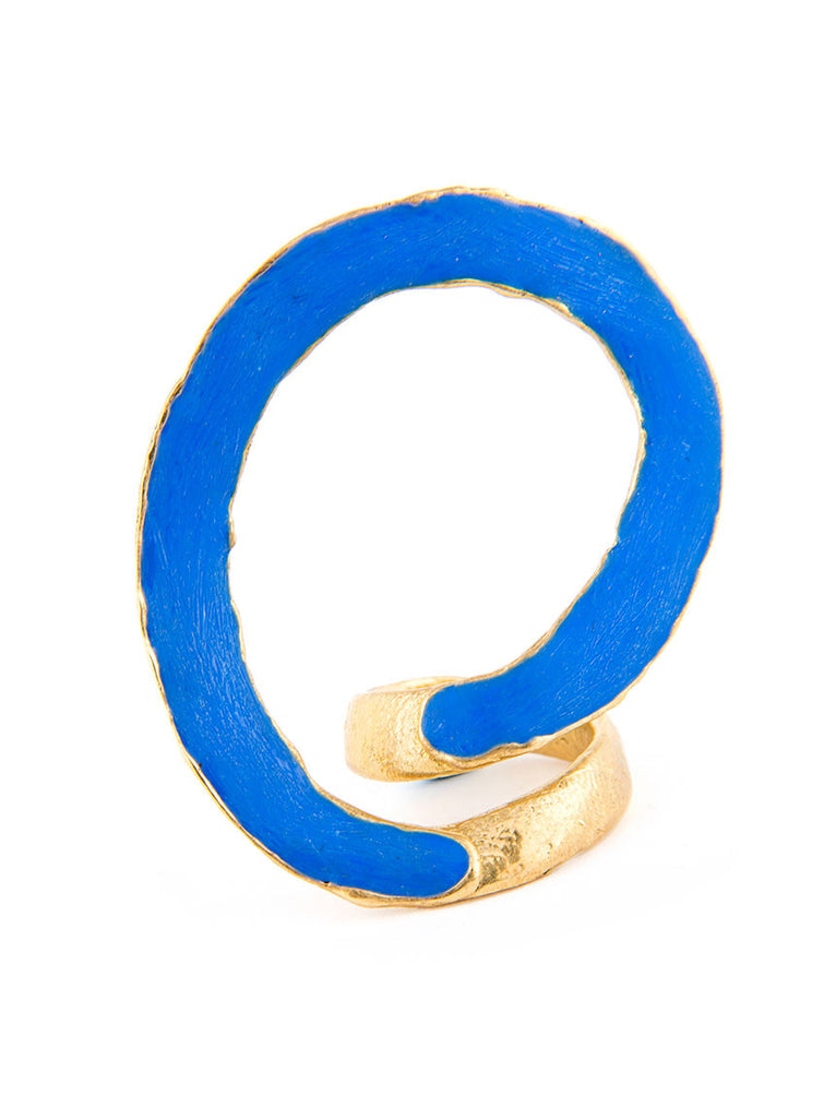 Statement Ring, Gold Metal with Blue Design