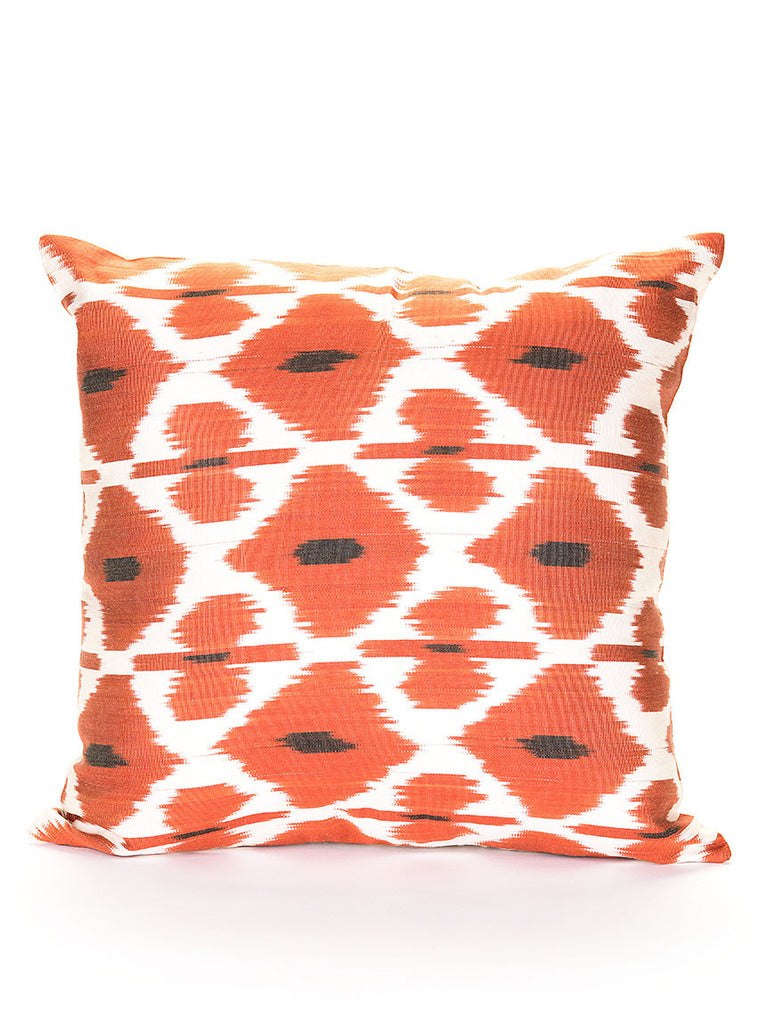 Silk Pillow Case, Orange / White