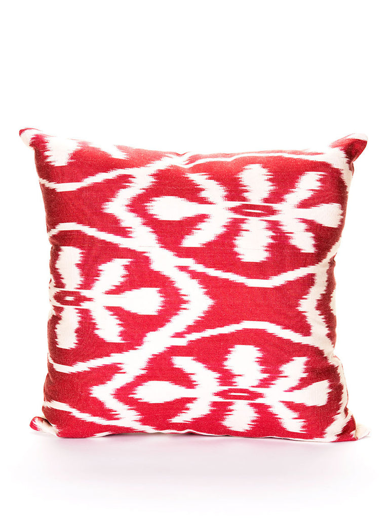 Silk Pillow Case, Red and White