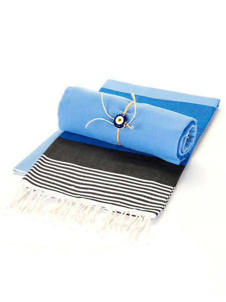Beach Towel - Blue, Black, and Tan Stripe