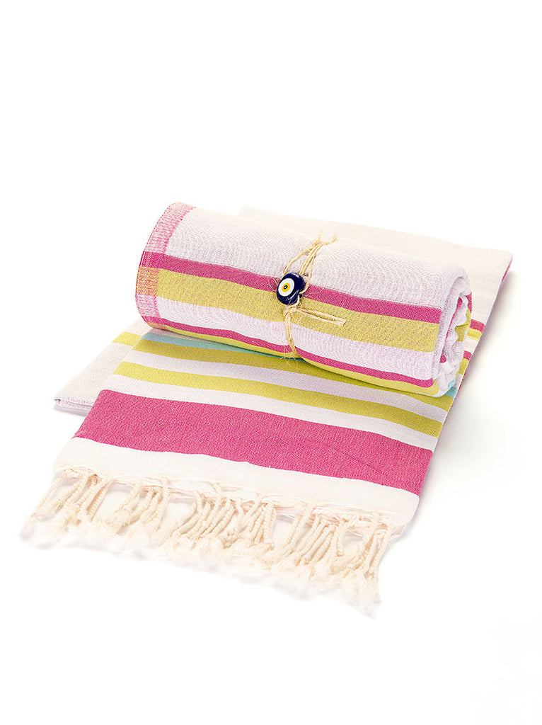 Beach Towel -  Pink, Yellow, & Turquoise Stripe