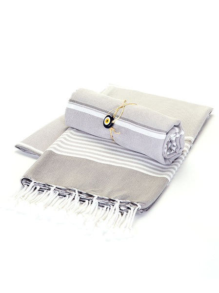 Beach Towel -  Grey Stripe