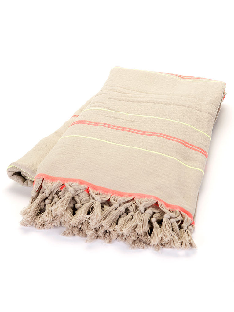 Terry Peshtemal Towel -  Grey Neon Stripe