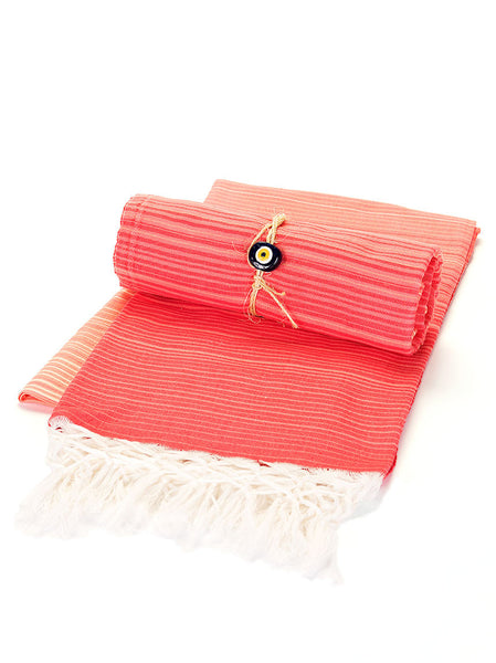 Beach Towel -  Pink & Yellow Stripe