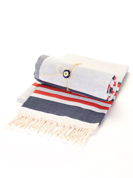 Beach Towel -  Red & Navy Stripe