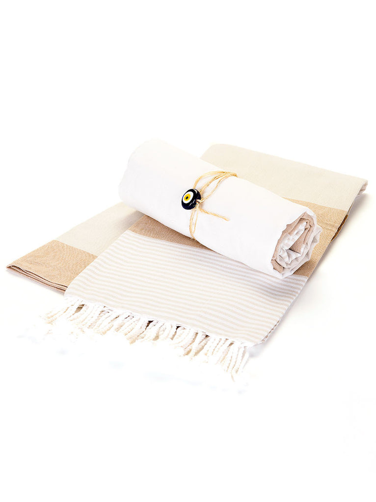 Beach Towel -  Beige & White Stripe