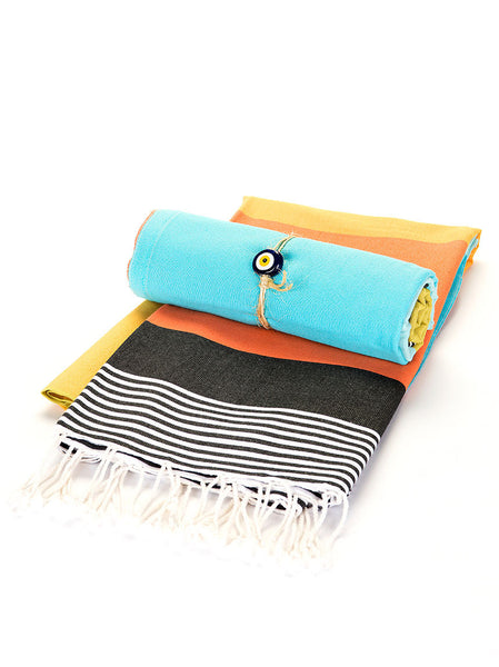 Beach Towel - Black, Orange, Yellow, Teal Stripe