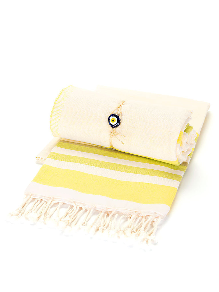 Beach Towel - Yellow & White Stripe