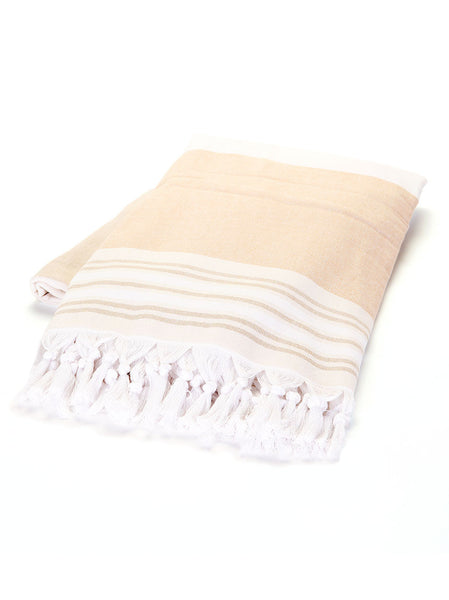 Turkish Towel - Beige & White