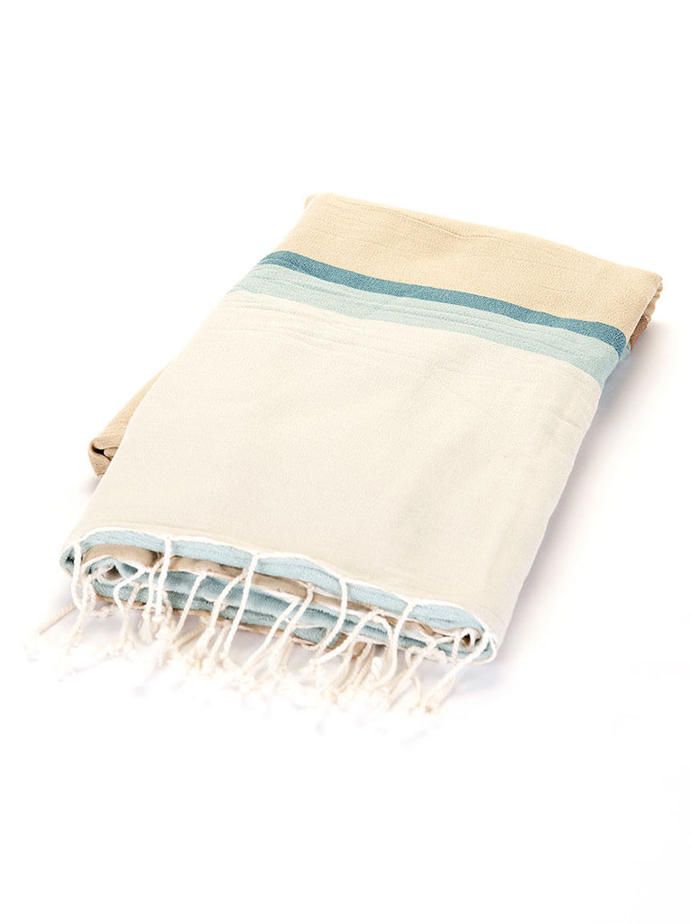 Turkish Towel - Beige & Turquoise