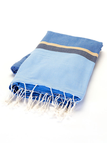 Terry Peshtemal Towel -  Blue & Yellow Stripe