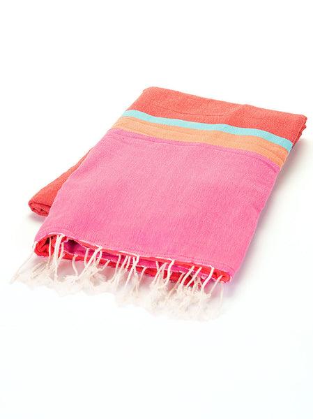 Terry Peshtemal Towel - Fuchsia, Orange, Teal