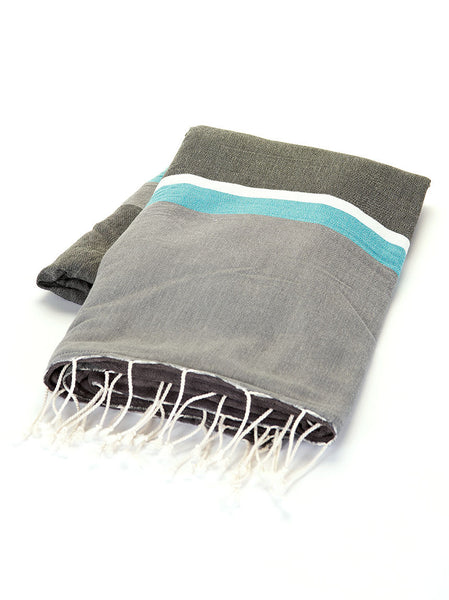 Terry Peshtemal Towel - Grey, White, Teal