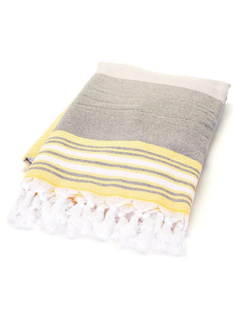 Terry Peshtemal Towel - Grey & Yellow