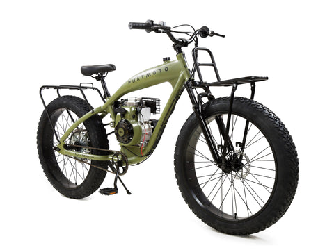 PHATMOTO™ ALL TERRAIN Fat Tire 2021 - 79cc Motorized Bicycle with Hilliard Clutch (Matte Army Green)