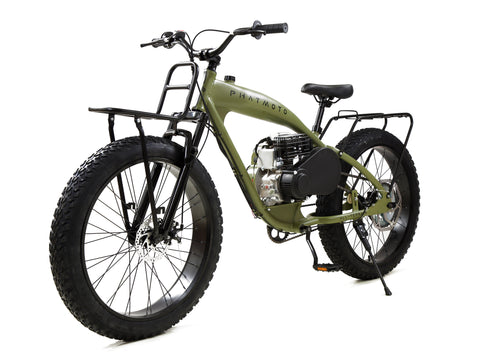 PHATMOTO™ ALL TERRAIN Fat Tire - 79cc Motorized Bicycle (Matte Army Green)