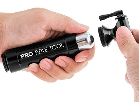 CO2 Inflator with Cartridge Storage Canister by Pro Bike Tool - Quick, Easy and Safe - For Presta and Schrader - Bicycle Tire Pump For Road and Mountain Bikes - No CO2 Cartridges Included