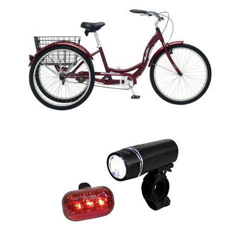 Schwinn Meridian Adult 26-Inch 3-Wheel Bike (Black Cherry) and BV Bicycle Light Set Super Bright 5 LED Headlight, 3 LED Taillight, Quick-Release
