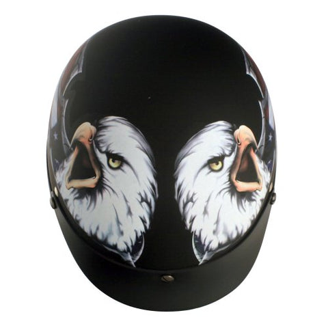 VCAN V531 Cruiser Patriotic Eagle Graphics Half Helmet (Flat Black, Large)