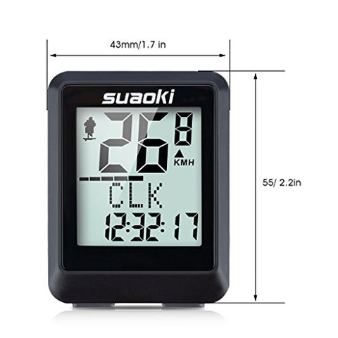 Suaoki Wireless Bike Computer Bicycle Speedometer Bike Odometer with LCD Backlight, 5 Language Displays, Auto Power On/Off Systems, Multi Function for Cycling