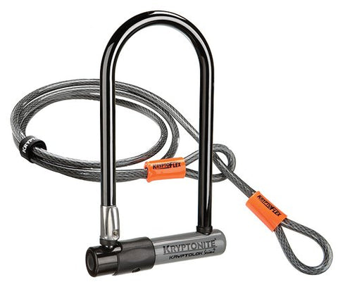 Kryptonite KryptoLok Series 2 Standard Heavy Duty Bicycle U Lock with 4ft Flex Bike Cable