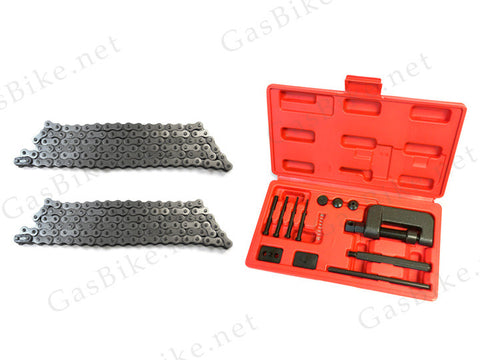 #415 Heavy Duty Bike Chain (2x) and Chain Breaker Combo - Gasbike.net