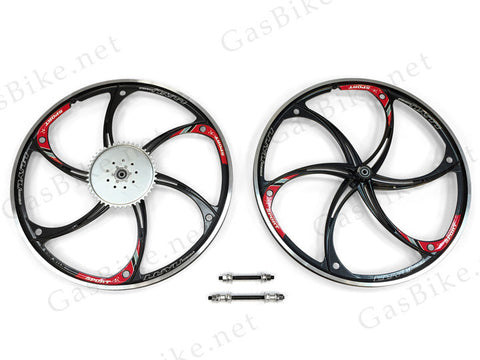 Aluminum Mag Wheels with 44T Sprocket - HY22 (Black) - Gasbike.net