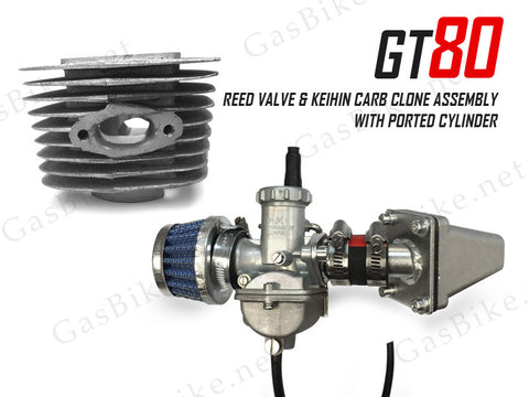 GT80 Reed Valve & Keihin Carburetor Clone Assembly with Ported Cylinder - Gasbike.net