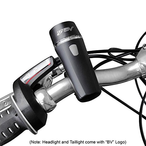 BV Bicycle Light Set Super Bright 5 LED Headlight, 3 LED Taillight, Quick-Release - Gasbike.net