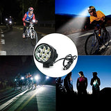 HZTech Bicycle Headlight, 8400 Lumens 7 LED Bike Light, Waterproof MTB Road Bike Front Light Headlamp with 9000mAh Rechargeable Battery Pack, AC Charger for Mountain Bikes, Road Bicycle