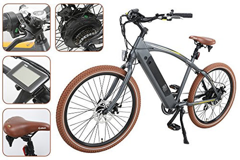 "Onway 26"" 7 Speed Powers Assist Electric Bicycle Lithium Battery Motorized Ebike, 500w Powerful Bike Rear Motor, Hidden Lithium Battery, LED bike Light, Brown Tire for Beach Snow Riding"