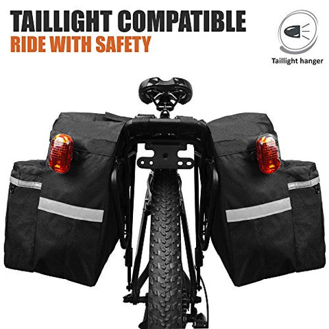 BV Bike Bag Bicycle Panniers with Adjustable Hooks, Carrying Handle, 3M Reflective Trim and Large Pockets - Gasbike.net