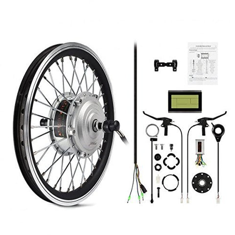 AFTERPARTZ® 16'' Electric Bike Bicycle Motor Conversion Kit Front Wheel Silver DIY PAS LCD Display (16) - Gasbike.net
