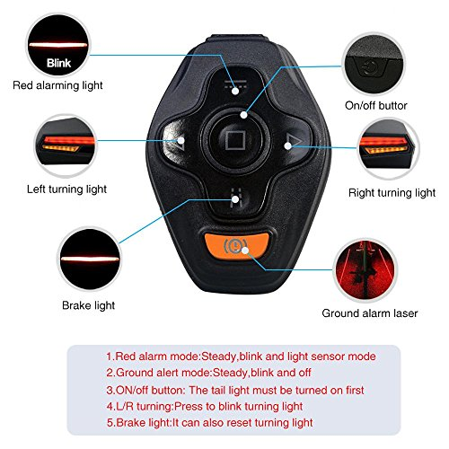 Pawaca Usb Rechargeable Led Bike Tail Light Wireless Remote Control