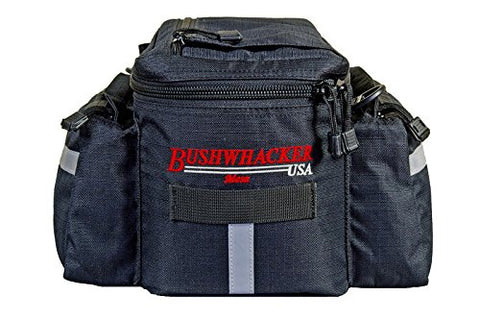 Bushwhacker® Mesa Trunk Bag Black - w/ Rear Light Clip Attachment & Reflective Trim - Bicycle Trunk Bag Cycling Rack Pack Bike Rear Bag - Gasbike.net
