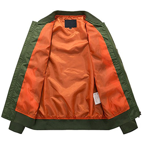 HANQIU Mens Outdoor Lightweight Army Military Flight Bomber Jackets Windbreaker - Gasbike.net