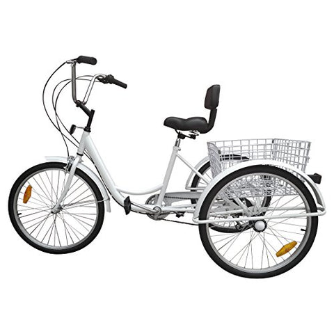 Ridgayard 6 Speed 24 Inch 3 Wheel Adult Tricycle Cruise Cargo Bike with Folding Basket - Gasbike.net