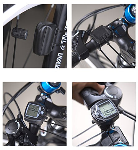 Bike Computer Speedometer Wireless Waterproof Bicycle Odometer Cycle Computer Multi-Function Large LCD Back-light Display with Safety Warning Light by SOONGO