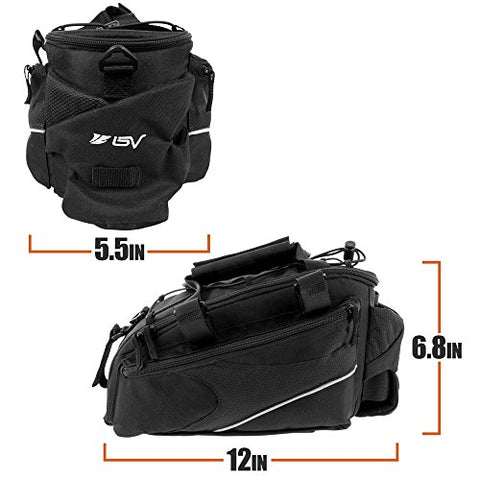 BV Bike Commuter Carrier Trunk Bag with Velcro Pump Attachment, Small Water Bottle Pocket & Shoulder Strap - Gasbike.net