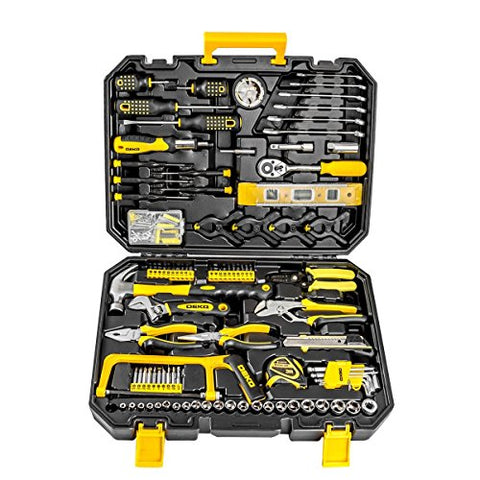 DEKOPRO 168pcs Socket Wrench Auto Repair Tool Combination Package Mixed Tool Set Hand Tool Kit with Plastic Toolbox Storage Case (168PCS) - Gasbike.net