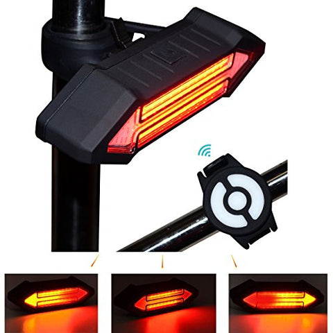 Bike Taillight 100 Lumens LED Taillight USB Rechargeable with Wireless Remote Turn signals Laser Beams for Moutain Bike BMX Bike Road Bicycle and Hybrid Bike - Gasbike.net