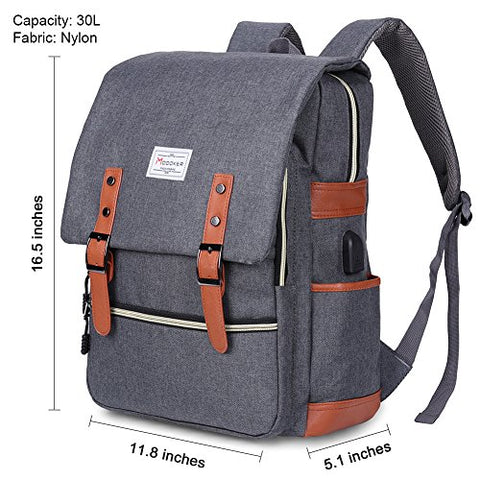 Modoker Vintage Laptop Backpack With USB Charging Port Lightweight School College Bag Rucksack Fits 15-inch Notebook, Grey A - Gasbike.net