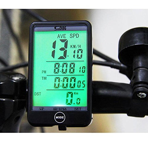 RUNACC Bicycle Wireless Computer Speedometer Bike Odometer Wireless Bicycle Speedometer with LCD Display Screen and Backlight, Suitable for Mountain Bike, Road Bike and Common Bicycle, Black