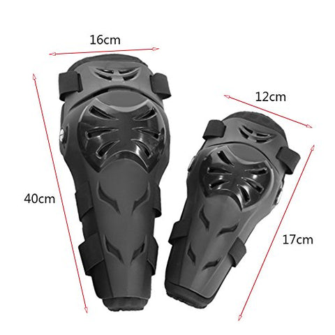 Qiilu 4Pcs Motorcycle Motocross Cycling Elbow Knee Pads Protector Guard Armors Wrist Protective Kneecap Knee Shin Brace Adult Set Black[Black] - Gasbike.net