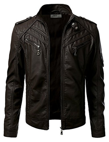 IDARBI Mens Stand Collar Zip Up Faux Leather Jacket - Gasbike.net