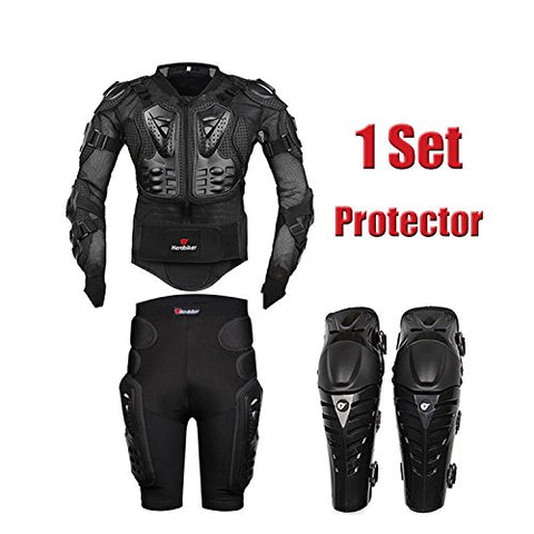 HEROBIKER MC1013 Black Motorcycle Body Armor Motocross Armour Motorcycle Jackets+ Gears Short Pants+protective Motocycle Knee Pad - Gasbike.net