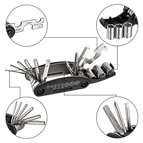 WOTOW 16 in 1 Multi-Function Bike Bicycle Cycling Mechanic Repair Tool Kit With 3 pcs Tire Pry Bars Rods - Gasbike.net